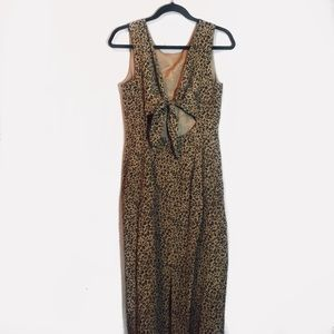 VTG Maggy London Leopard Back Cut Out Midi Dress